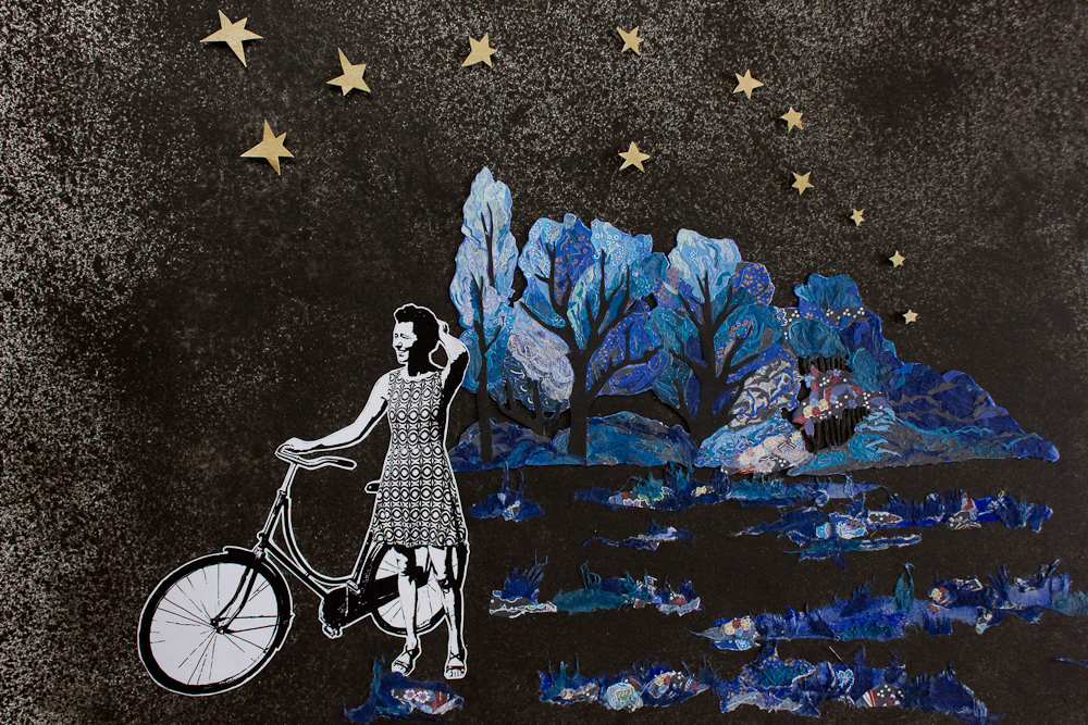 A black and white photo of Moniek standing next to her bicycle. Against a black speckled background giving a feeling of night there are trees in the horizon. Trees are made of pieces of origami paper in different shades of blue. There are 12 golden stars in the sky. Moniek is facing the left margin and away from the trees and shrubbery..