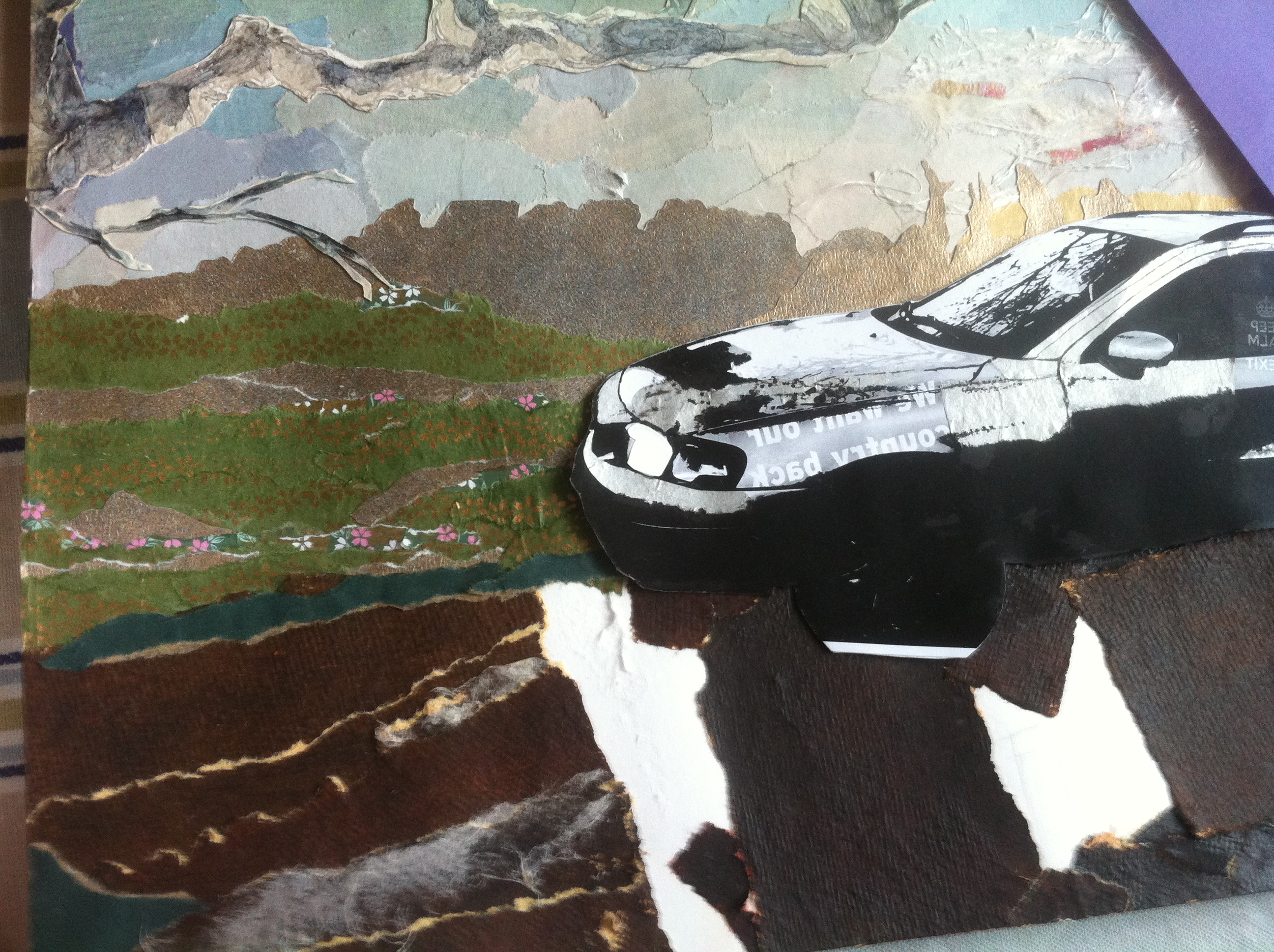 Detail of a collage showing a car against a background of countryside made out of origami and wall papers
