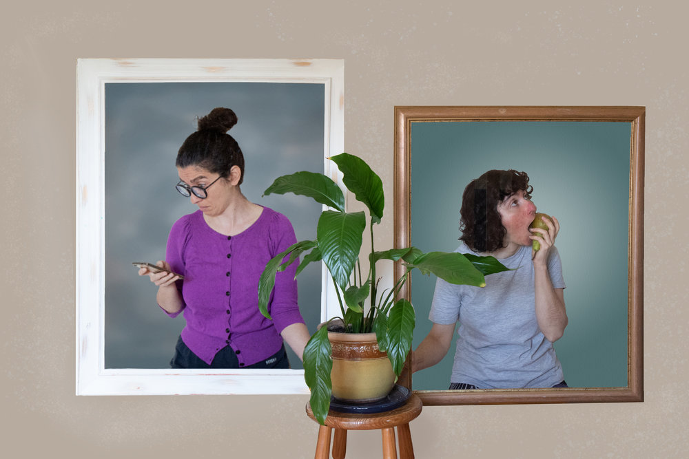 A digitally manipulated photo showing framed images of Elmira in purple cardigan and Ramona in grey top on a wall. Elmira is looking horrified at her mobile phone. Ramona is apathically eating a pear. A flower pot in front of the framed images.